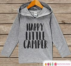 Kid Camping Shirt - Happy Little Camper Hoodie - Hiking, Nature, Outdoor Aventure, Camp Shirt - Pullover - Grey Toddler, Infant, Kids Hoodie