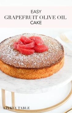 Easy Grapefruit Olive Oil Cake - Lively Table - - A simple and flavorful winter grapefruit olive oil cake that's delicious enough for dessert, but healthy enough for breakfast - no frosting required. Grapefruit Recipes Dessert, Grapefruit Cake, Lemon Desserts, Delicious Desserts, Grapefruit Ideas, Kid Desserts, Winter Desserts, Baking Recipes, Cake Recipes