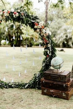 Travel Themed Summer Wedding In South Africa ~ close-up of pretty circular ceremony backdrop with paper airplanes and vintage luggage and globe. The Event Planners; My Pretty Vintage Aviation Wedding Theme, Airplane Wedding, Wedding Themes, Wedding Events, Wedding Decorations, Wedding Bride, Maroon Wedding, Wedding Images, Elegant Wedding