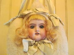 SALE-Antique-large-bisque-doll-pincushion-heart-with-ribbons-Armand-marseille