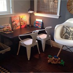 Repurposed Coffee Table To Kid Coloring With Mini Tabouret Chairs