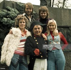 An actor playing Napoleon (centre) poses with the pop group Abba, (L-R) Anni-Frid Lyngstad, Benny Andersson, Björn Ulvaeus (Bjorn Ulvaeus), Agnetha Fältskog (Agnetha Faltskog), to promote their single Waterloo in Copenhagen, Denmark in 1974.