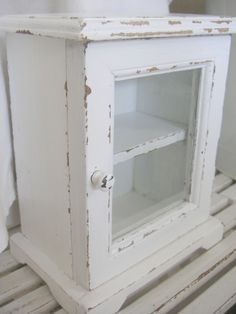 Glass Wood Curio Display Box kitchen Whitewashed Chippy Shabby chic French country rustic Swedish decor idea