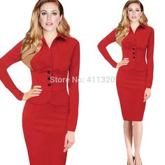 Women Dress Suits Elegant Business Suits Blazer Formal Office Suits Work Tunics Long Sleeve Knee Length Pencil Dress > Nice plus size clothing shop for everybody