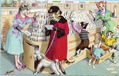 Mainzer cats At the Card Shop Postcard,  Dressed cats shopping, post card no. 4933 by sharonfostervintage on Etsy