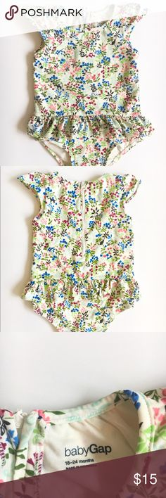 Gap Floral Swimsuit size 18-24 months Cream colored swimsuit with flowers. Sweet little cap sleeves and zip up back. Only worn 1X. So so cute. No stains or rips. #gap #babygap #swim #summer #poolparty #floral #surfer GAP Swim One Piece