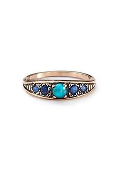 Turquoise and Sapphire Band in 14k Rose Gold
