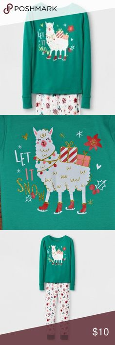 "New CAT & JACK Green Llama Holiday Pajama Top Even when the snow is falling, keep your girl as cozy as can be while she's dreaming in her Pajama top from Cat & Jack. These holiday pajamas keep things fun with the green long-sleeve pajama shirt with the ""Let it Snow"" llama graphic. She'll always be looking forward to bedtime.   size 4 new without tags color: green  @cjrose25  More kids clothes in my posh closet. Bundle your likes for a discount & save on shipping. Cat & Jack Pajamas Pajama…"