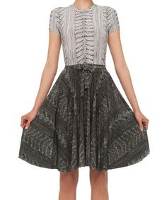 Take a look at this White & Gray A-Line Dress by KamaliKulture on #zulily today! $59 !!