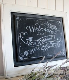 @Rachel Bowden Chalkboard Handpainted Wedding Sign Welcome To Our Wedding