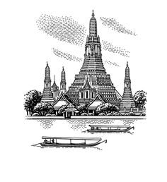 Bangkok - Cities for YotaPhone 2 on Behance Architecture Sketchbook, Church Architecture, Cool Art Drawings, Art Sketches, Graphic Design Illustration, Illustration Art, Illustrations, Bangkok, Buddha Tattoo Design