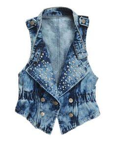 Blue Snow Washed Denim Vest with Studded Lapel and Elastic Belt Waist Fashion Wear, Denim Fashion, Fashion Women, Fashion Clothes, Chaleco Casual, Grunge Jacket, Denim Vests, Denim Waistcoat, Revival Clothing