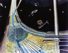 Grandes construções poderiam ser feitas no espaço. Imagem: Don Davis/NASA/Ames Research Center