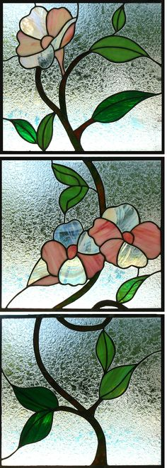 "Vintage 1970's Floral Motif Stained leaded glass Three (3) pane window 17-1/4"" W x 48"" L"