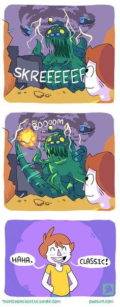 The Pigeon Gazette — A guest comic that needs no introduction but. Shen Comics, Manga Comics, Funny Relatable Memes, Funny Jokes, Hilarious, Cute Comics, Funny Comics, The Pigeon Gazette, Owlturd Comix