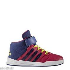 best sneakers fd24d 9b623 ADIDAS SCARPE BAMBINA SNEAKERS AQ6812 JAN BS 2 MID C FUXIA BLU POLACCHINO  VELCRO