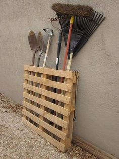 Great idea for outdoor tools or brooms and mops