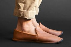 Hand-cut, vegetable-tanned leather slippers with wool felt insole and natural leather outsole. Based on an original pattern from a Civil War-era magazine. Handmade in the U.S. #giftideas #men