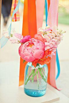 #peony in a mason jar = genius! Photography: Ellie Grover Photography - elliegrover.com