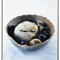 Goat Cheese with Olives, Lemon, and Thyme recipe | Epicurious.com