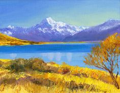 Mount Cook (Aoraki) looms over Lake Pukaki in New Zealand's southern alps in the centre of the rugged south island.  Oil painting by award-winning Australian artist Dai Wynn (after Rob Suisted) on canvas panel.  17.78 cm high X 22.86 cm wide (7 inches X 9 inches) approximately.  Available for sale online at $300.