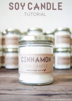 DIY Cinnamon Candle Tutorial | 10 DIY Soy Candles You Will Love - Calming & Relaxing Handmade Candles Great For Gifts see more at http://diyready.com/diy-soy-candles-10-addictive-scents-you-will-love