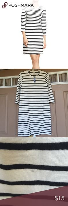 Striped Mini Dress This dress is super cute and super summery! With thin black stripes and thick white spaces this makes for a fashion statement. The tiniest spot near the bottom pictured, but seriously not noticeable. Old Navy Dresses Mini