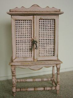 Pink lilen cabinet, 1:12 on Etsy, Sold