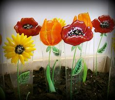 Fused Glass Plant Stake and Garden Stake Orange Tulip by CDChilds