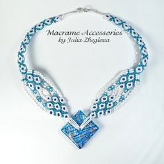 Macrame Necklace Rain Magic blue and white woman by makrame.