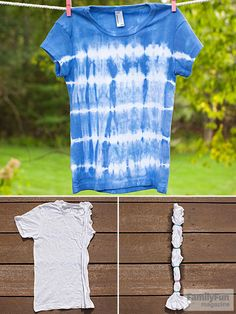 Blue t-shirt with batik stripes tye dye shirts Bleach Tie Dye, Tye Dye, Bleach Pen, Tie Dye Instructions, Diy Tie Dye Shirts, Blue Tie Dye Shirt, Diy Shirt, Tie Dye Crafts, Fashion Sewing