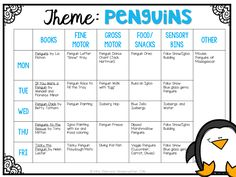 School: Penguins Tons of creative penguin themed activities and ideas for tot school, preschool, or kindergarten.Tons of creative penguin themed activities and ideas for tot school, preschool, or kindergarten. Lesson Plans For Toddlers, Preschool Lesson Plans, Preschool Activities, January Preschool Themes, Winter Activities, January Crafts, Preschool Printables, Daycare Curriculum, Preschool Classroom