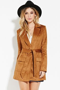 Belted Faux Suede Coat