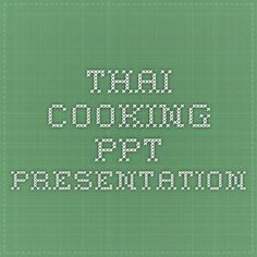 Thai cooking PPT presentation