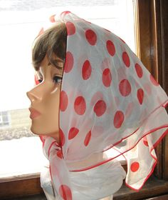 1960s Sheer Red & White Polka Dot Scarf - Rolled Edge - Vintage Fun and Glamour - Ready to Wear!