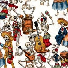 Fiesta de los muertos fabric by the yard for Day of the Dead crafting
