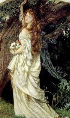 British Romantic Pre-Raphaelite Painter: Arthur Hughes 'Ophelia' 1863-64 - oil on canvas  Ophelia and He Will Not Come Again