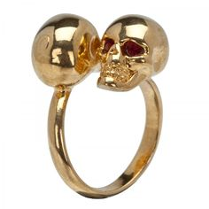 gold twin skull rings alexander mcqueen