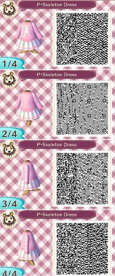 """animalsandmacarons: """" It's a nice little white skirt with a pink stripe at the leg, adorned with a cute skeleton print sweater! I love this QR Be sure to join my ACNL Give away! You could win FREE ITEMS FOR YOUR GAME! Give away is located –> here """""""