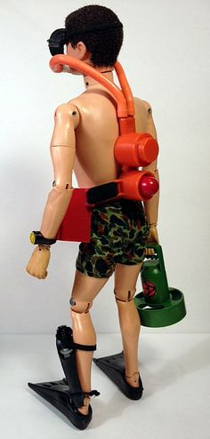 Rear view of Underwater Demolition to show placement of the tank.  The belt to this set is nothing more than an elastic band with belt closures.