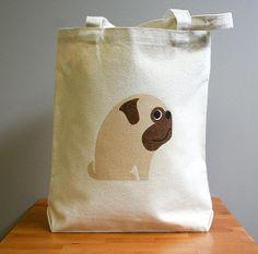 For Pug People :: Pug canvas tote bag :: http://www.etsy.com/shop/squarepaisleydesign