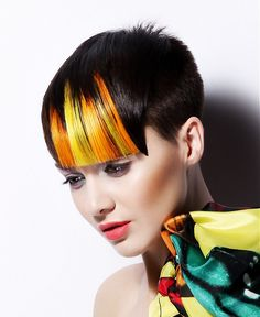 Short Black straight coloured multi-tonal yellow defined-fringe womens haircut hairstyles for women