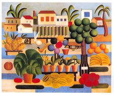Fair(1928) - Oil on Canvas - Tarsila do Amaral.