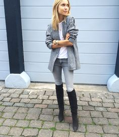 ...gray over-sized topper, gray jeans, killer over the knee boots.
