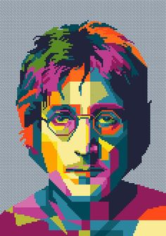 Lennon The Beatles Cross stitch pattern PDF Instant