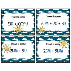 Cartes à tâche - addition de valeur de position Math Place Value, Place Values, 5th Grade Math, Cycle 3, Math Games, Task Cards, Teacher, Multiplication, Education