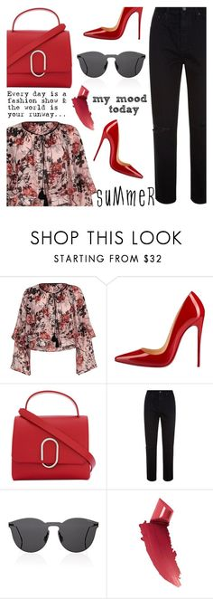 """""""My mood today"""" by jan31 ❤ liked on Polyvore featuring River Island, Christian Louboutin, 3.1 Phillip Lim, AG Adriano Goldschmied, Illesteva and By Terry"""