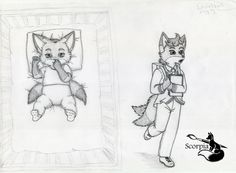 Sky Phydeau 2 months and 6 years old Sketch by elleboe.deviantart.com on @DeviantArt