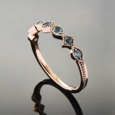 Topaz Rose Gold Ring Dainty gold Engagement Ring Blue stone