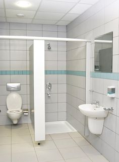 Public Restroom With Stand Up Shower Stall